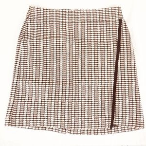 J Crew Factory Faux Wrap Skirt 2 Pale Pink Black